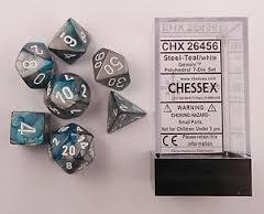 7 Steel-Teal w/white Gemini Polyhedral Dice Set - CHX26456