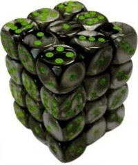 36 Black Grey / Green Gemini 12mm D6 Dice Block - CHX26845