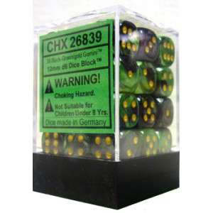 36 Black-Green w/gold Gemini 12mm Dice Block - CHX26839
