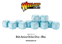 12 Blue Bolt Action Order D6 Dice Set