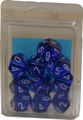 10 Translucent Blue w/White D10 - CHX23206