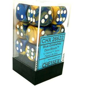12 Blue-Gold/white Gemini 16mm D6 Dice Block - CHX26622