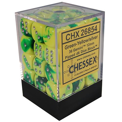 36 Green-Yellow/silver Gemini 12mm D6 Dice Block - CHX26854