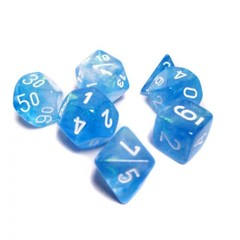 Borealis Sky Blue w/White Set of 7 Dice