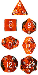 7 die Polyhedral Translucent Orange-Black w/White Dice Block - CHX23003