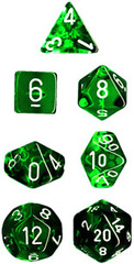 7 die Polyhedral Translucent Green-Black w/White Dice Block - CHX23005
