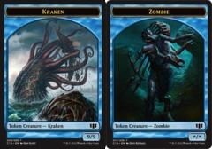 Kraken // Zombie (Blue) Double-sided Token