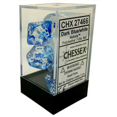 7 Dark Blue w/White Nebula Polyhedral Dice Set - CHX27466
