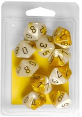 10 Gold-White w/Black Gemini D10 Dice Set - CHX26248