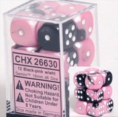 12 Gemini Black-Pink w/White 16mm D6 Dice Set - CHX26630