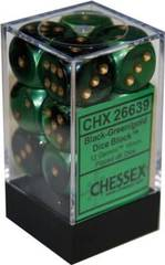 12 16mm Black-Green w/Gold D6 Dice Set - CHX26639