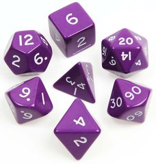 Jumbo Dice Set 7 Polyhedral Purple 28mm