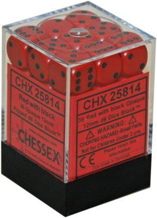 36 12mm Red w/Black Opaque D6 Dice Set - CHX25814