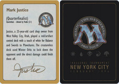 1996 Mark Justice Biography Card