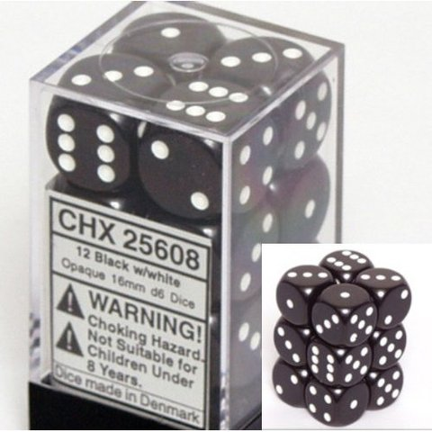 12 Black /white Opaque 16mm D6 Dice Block - CHX25608