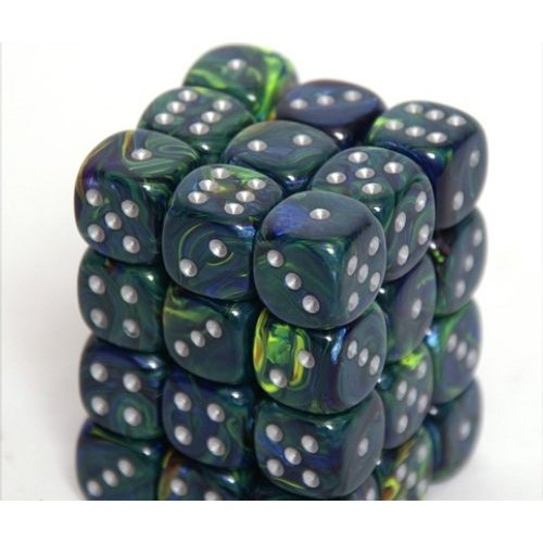 36 Green /silver Festive 12mm D6 Dice Block - CHX