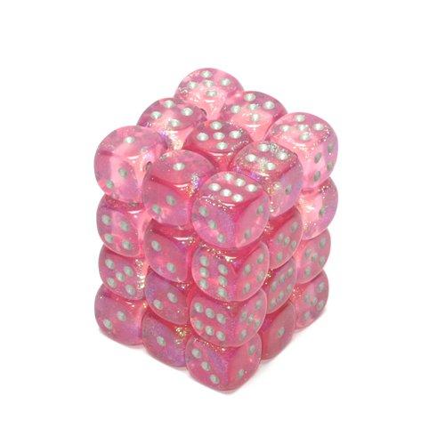 36 Pink /silver Borealis 12mm D6 Dice Block - CHX