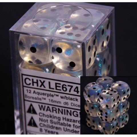 12 Aquerple /black Borealis 16mm D6 Dice Block - CHXLE674