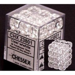 36 D6 Dice Block - 12mm Translucent Clear with White - CHX23801