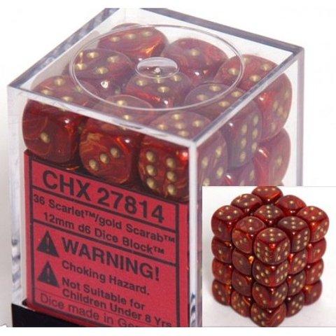 36 Scarlet w/gold Scarab 12mm D6 Dice Block - CHX27814