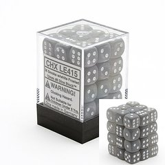 36 D6 Dice Block - 12mm Frosted Smoke with White - CHX LE415