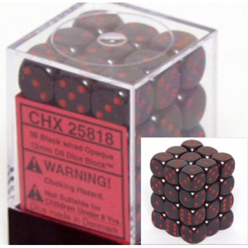 36 Black w/red Opaque 12mm D6 Dice Block - CHX25818