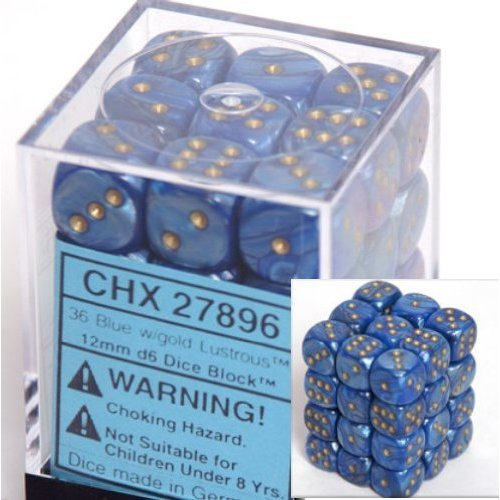 36 Blue w/gold Lustrous 12mm D6 Dice Block - CHX27896