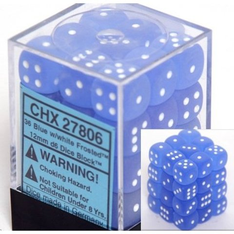 36pc 12mm D6 Dice - Frosted Blue w/White - CHX27806