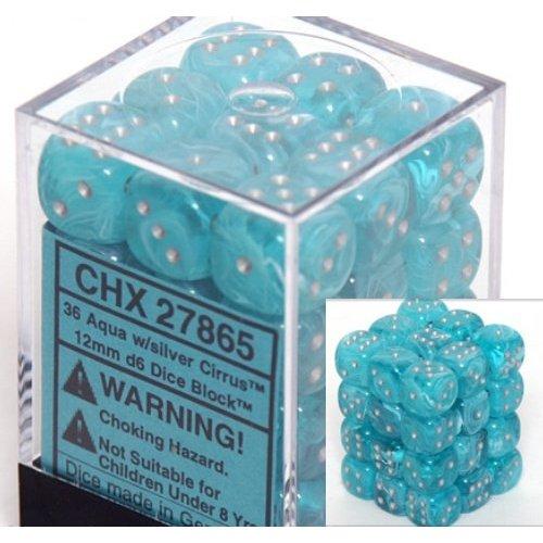 36 Aqua w/silver Cirrus 12mm D6 Dice Block - CHX27865