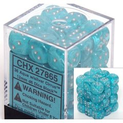 12mm D6 Dice Block: Cirrus - Aqua w/Silver - CHX27865