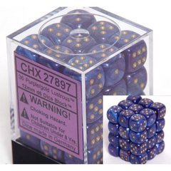 36 Purple w/gold Lustrous 12mm D6 Dice Block - CHX27897
