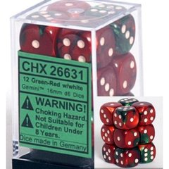 12 Gemini Green-Red w/white 16mm D6 Dice Block - CHX26631