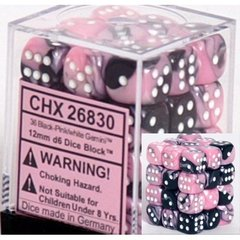 36 Black-Pink w/white Gemini 12mm D6 Dice Block - CHX26830 on Channel Fireball