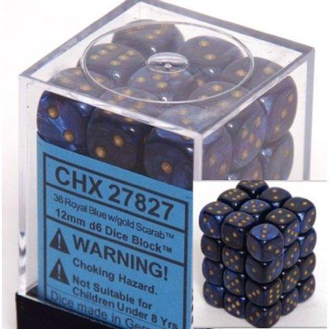 36 Royal Blue w/gold Scarab 12mm D6 Dice Block - CHX27827