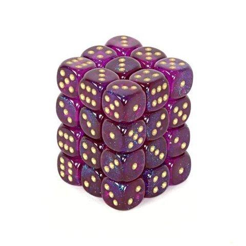 36 Royal Purple w/gold Borealis 12mm D6 Dice Block - CHX27867