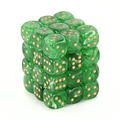 36 Green w/gold Vortex 12mm D6 Dice Block - CHX27835