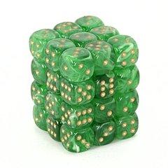36 Green w/gold Vortex 12mm D6 Dice Block - CHX27835