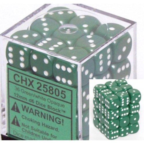 36 Green w/white Opaque 12mm D6 Dice Block - CHX25805