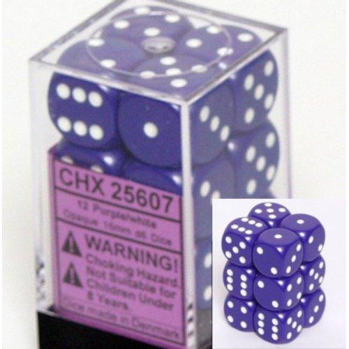 12 Purple w/white Opaque 16mm D6 Dice Block - CHX25607