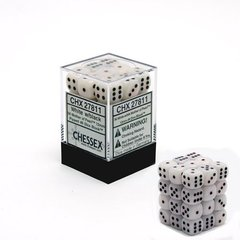 36 White w/black Mother of Pearl 12mm D6 Dice Block - CHX27811