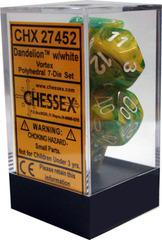 Dandelion w/white Vortex Polyhedral 7 Dice Set - CHX27452