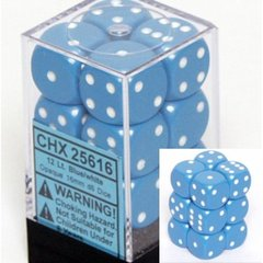 12 Light Blue w/white Opaque 16mm D6 Dice Block - CHX25616