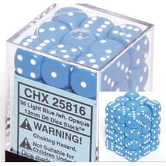 36 Light Blue w/white Opaque 12mm D6 Dice Block - CHX25816