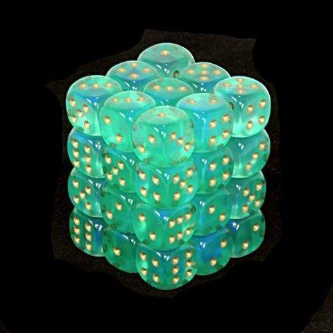 36 Light Green w/gold Borealis 12mm D6 Dice Block - CHX27825