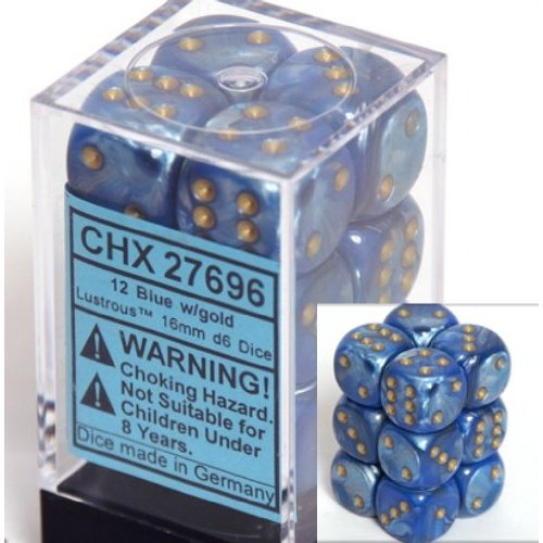 12 Blue w/gold Lustrous 16mm D6 Dice Block - CHX27696