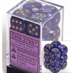 12 D6 Dice Block - 16mm Lustrous Purple with Gold - CHX27697