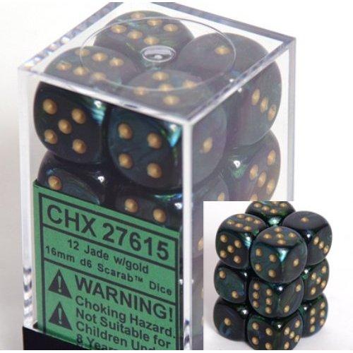 12 Jade w/gold Scarab 16mm D6 Dice Block - CHX27615
