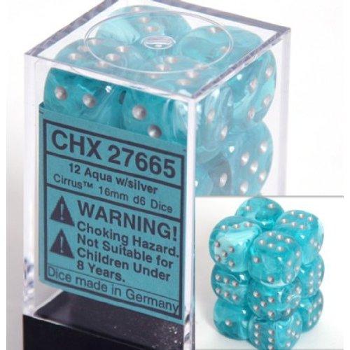 12 Aqua w/silver Cirrus 16mm D6 Dice Block - CHX27665