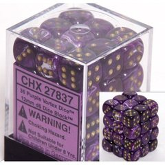 36 Vortex Purple w/gold 12mm D6 Dice Block