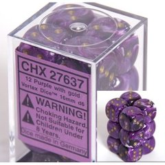 12 Purple w/gold Vortex 16mm D6 Dice Block - CHX27637